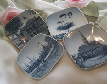 MINT Handsome Set of Danish Bing & Grondahl Minature Porcelain Plates - Souvenir - Collectible - Home Decor - Artist Kjeld Bonfils