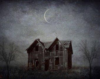 halloween photo creepy house photography, home decor photograph, landscape dark art print, haunted abandoned october autumn moon gothic