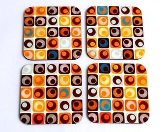 Set of four drink coasters,retro brown orange geometric square graphic design decorative printed wooden coasters kitchen table home decor
