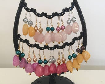Design Your Own Earrings, Sterling Silver or Gold Plated Earring Hooks, Choose your Colours, Colored Stone, Colored Glass Pearls, Gift 4 Her