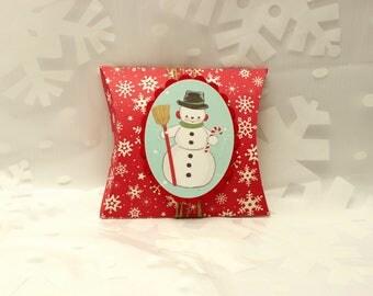 Snowman Pillow Box Gift Card Holder,  Rustic Snowman Pillow Box, Snowman Gift Box, Small Gift Box, Gift Card Holder, Rustic Gift Card Holder