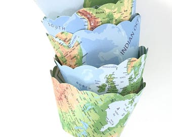 Map Cupcake Wrappers - Travel Cupcake Wrappers