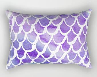 mermaid lumbar pillow toddler pillow scallop pillow watercolor bed pillow rectangle throw