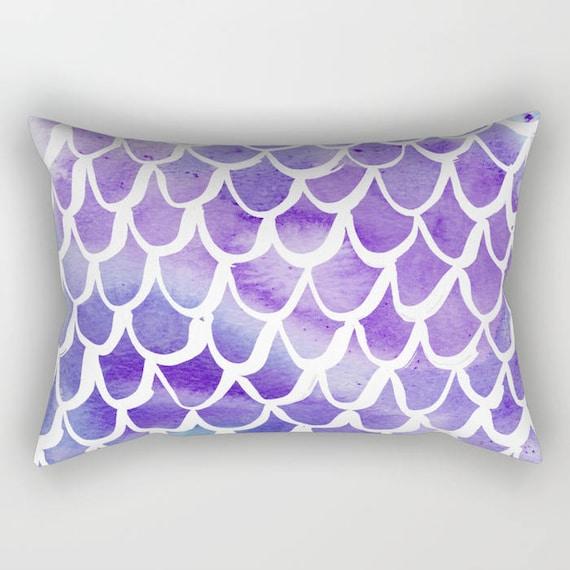 Mermaid Lumbar Pillow - Toddler Pillow - Scallop Pillow - Watercolor Bed Pillow - Rectangle Throw Pillow - Purple Pillow - Travel Pillow