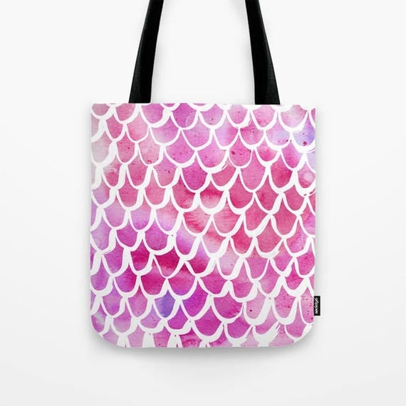 Tote bag Pink Mermaid tote bag Watercolor tote bag White Mermaid tote bag tote Canvas bag Shopping bag Sea green tote bag Summer bag