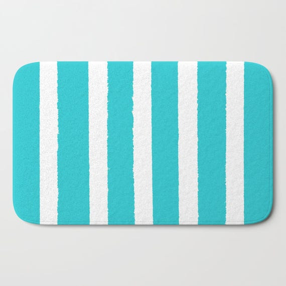 Bath Mat - Aquamarine and White Bath Mat - Striped Bath Mat - Bath Rug - Shower Mat - Cyan Rug - Geometric Rug - Aqua and White Striped Rug