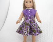 """Purple Floral 1950's Retro Style Dress And Pearl Jewelry Set  for American Girl or other 18"""" Dolls"""