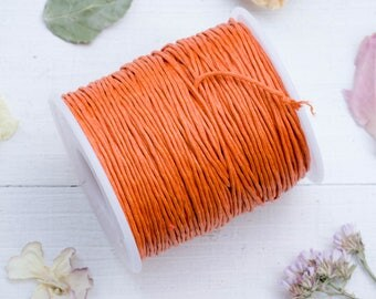 Waxed Cotton 1mm, Orange Cord    75 meter Spool, Jewelry Cord