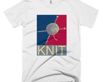 Knit, Yarn, Knitting needles, shepard fairey, hope art, obama, graffiti, Short-Sleeve T-Shirt, gifts for knitters