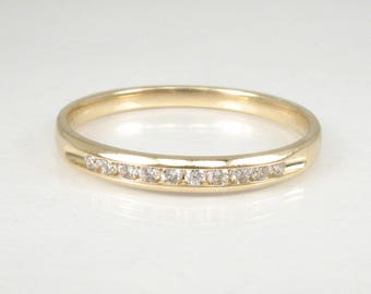 Channel Set Diamond Wedding Band – 14K Yellow Gold