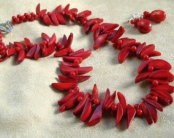 Coral Crescent Necklace