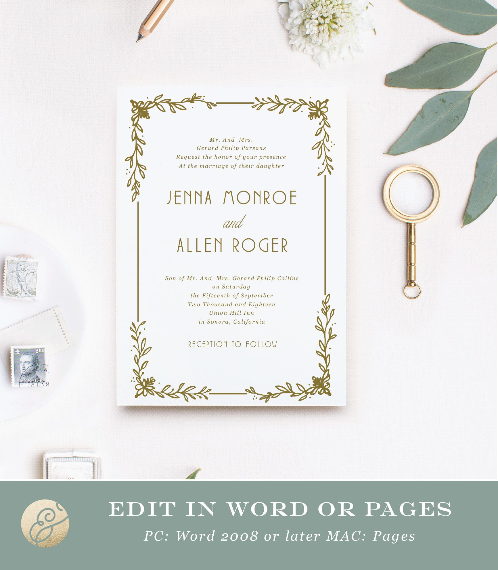 Downloadable Wedding Invitations | Deco Wreath | Print at Home or ...