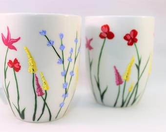Wild flower coffee mugs - hand painted mugs with wild flowers - floral coffee mugs - set of 2