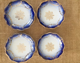 Set of 4 Butter Pats Flow Blue White Transferware with Gold Trim  Transfer ware China Fine China Butter Pat Trinket Dish #4