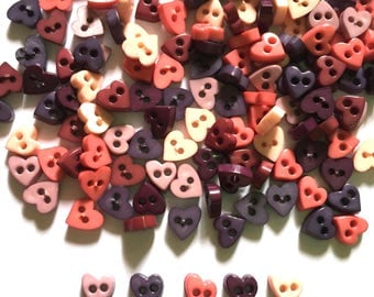 100 pcs Tiny love heart buttons size 6 mm mix brown tone