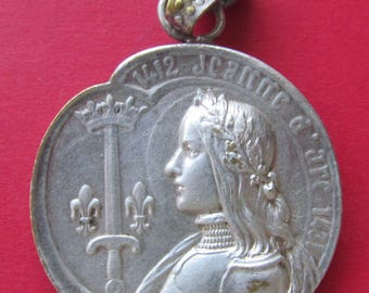 Antique Religious Medal French Joan Of Arc Listening To Voices Signed Bargas  SS482
