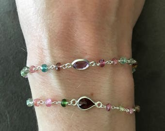 Tourmaline, Sterling Silver, and various gemstone Bracelet, everyday jewelry, gifts for her, multi colored, layering