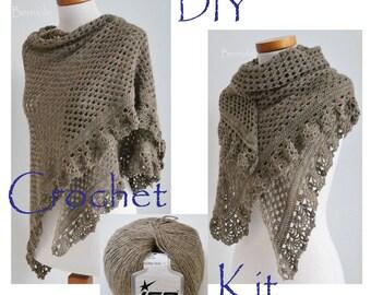 DIY Crochet Kit, Crochet shawl kit, ASHLEY, Camel, light brown, yarn and pattern