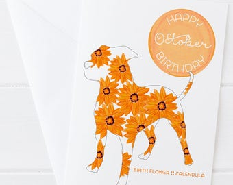 October Birthday - Birth Flower Calendula Dog Greeting Card