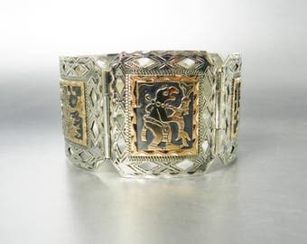Vintage Silver and Gold Mayan Gods Panel Cuff Bracelet Storyteller Offering Guatemalan Two Tone Hand Engraved