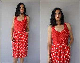 Vintage 1970s Dress | 70s Dress | 1980s Linen Dress | 80s Dress | 1970s Day Dress | Polka Dot Sun Dress - (medium/large)