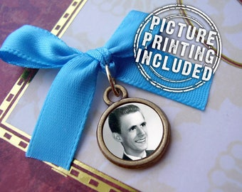 Memorial Photo Charm - Tiny Bronze Round Photo Charm Smaller Than a Penny- Includes Picture Printing Service