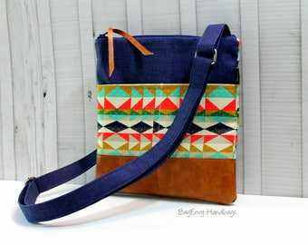 Hipster Messenger - Sling Bag - Aztec Overlook in Navy with Vegan Leather