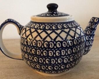 vintage boleslawiec polish pottery teapot traditional pattern