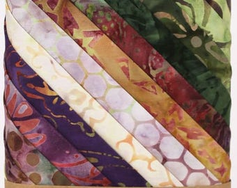12 Fat Quarter Tuscany Tonga Treats Batiks fabric for quilting Timeless Treasures Layer Cake