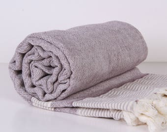 Towel... Bath Towel, Pool, Spa,  natural light Purple and Cream double-face fabric