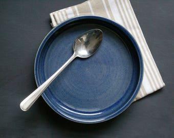 Shallow serving dish - wheel thrown stoneware bowl in ocean blue