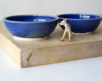 Set of two snack bowls in ocean blue - hand thrown tapas style dishes