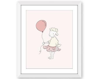 Lamb Nursery Art -- Lamb Ballerina with Balloon -- Girl Nursery Decor -- Lamb Art -- Sheep Nursery Art, Children Art Print, Kids Wall Art