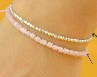 Sterling silver and pink opal bracelet