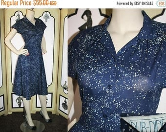 ON SALE Vintage Galaxy Shirt Dress, 80's Does 50's. Navy with Galaxy Print with Matching Belt. Small XS.