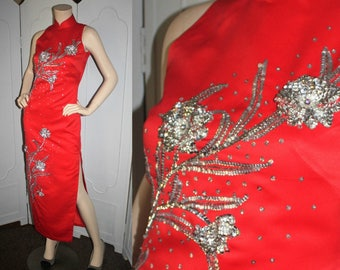 Vintage Hung Chong Co. Cheongsam Qipao Dress in Cherry Red with Silver Sequin. Rhinestones and Pearl Beading. Small.