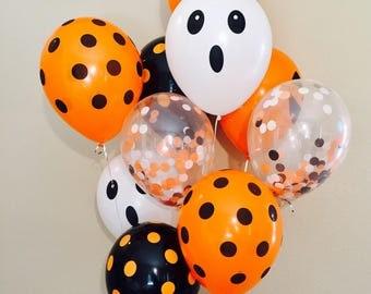 Halloween Latex Balloons, Halloween Balloons, Halloween Kid Parties, Jack O Lantern, Halloween Party Decor, Ghost balloons, Pumpkin Balloons