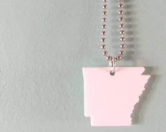 Arkansas Shape State Jewelry, US State Necklace in Translucent White Acrylic