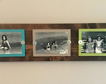 Rustic photo frame, reclaimed wood, family photo frame, 4x6 frames, farmhouse decor, wooden frame, 3 photo frame, school picture frame