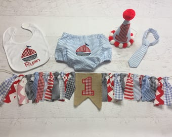 Sailboat Birthday Set - Smash Cake Outfit - Nautical Birthday - Baby Boy First Birthday - Sailboat Diaper Cover - Birthday Banner - Birthday