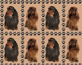 The English Toy Spaniel and paw prints  fabric