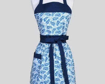 SALE Classic Womens Apron , Shades of Blue Floral Retro Vintage Style Chef Kitchen Apron with Pocket