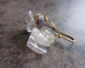 Raw Quartz Earrings. Included Quartz. Rutilated & Tourmalinated. Gold Rutile. Black Tourmaline. 14k Gold Fill Wire. Rockhound Gifts. For Her