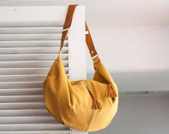 Yellow crossbody bag canvas, hobo purse crossover bag shoulder slouchy shoulder bag - Crossbody Kallia bag
