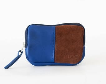 SALE Leather coin purse in royal blue and brown suede, zipper pouch zipper phone case money credit card-The Myrto Zipper pouch