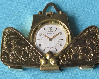 Travel Clock Miniature Folding Case Vintage Scrolled Gold Toned Metal Kaiser Made In Germany c.1950s-1960s