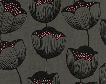 Cotton + Steel - Magic Forest Collection - RAYON Tulips in Gray