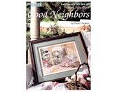 Good Neighbors Cross Stitch Leaflet, Paula Vaughan, Country Cross Stitch Leaflet, Floral Cross Stitch Pattern, Cottage Cross Stitch