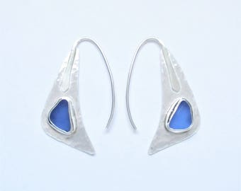 Sea Glass Jewelry - Sterling Cornflower Blue Sea Glass Earrings