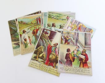 22 Antique Lithograph Bible Study Cards, Religious Picture Cards, Oversize Lesson Picture Cards